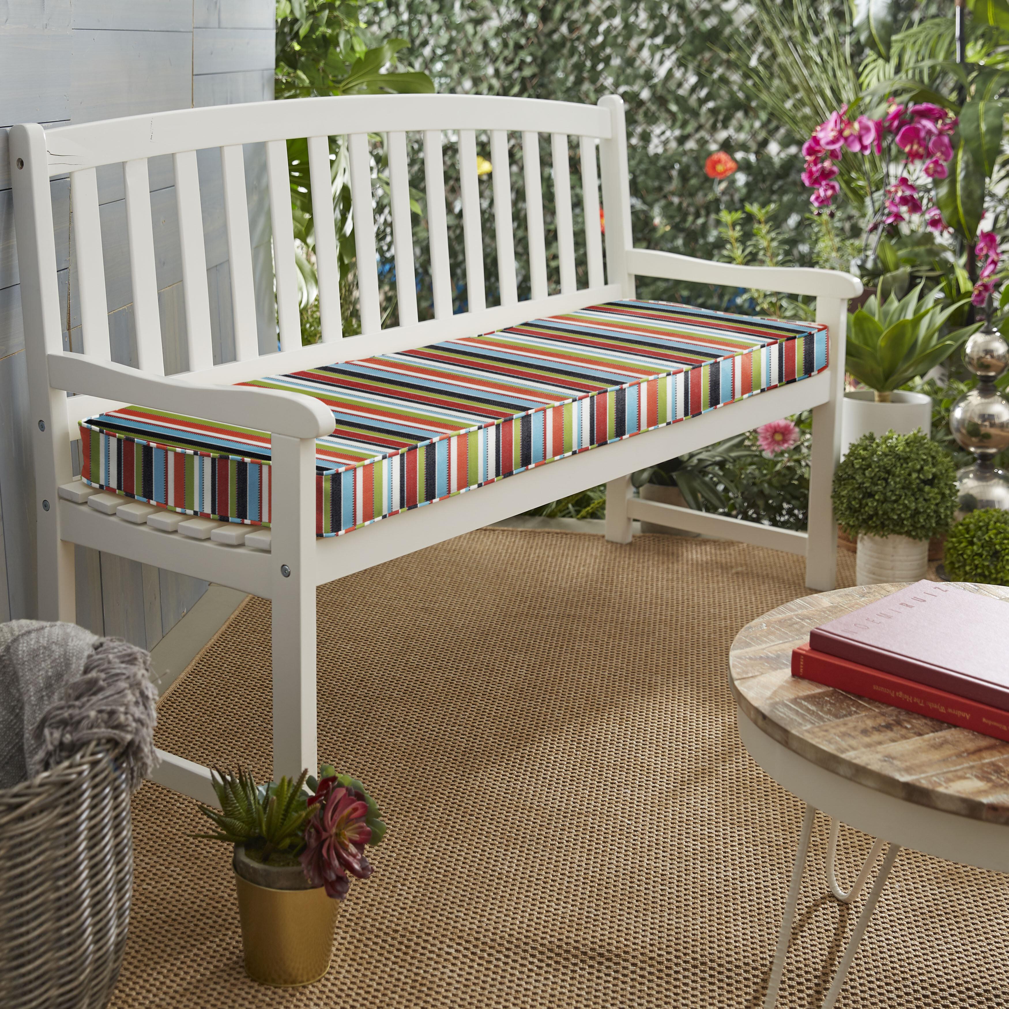Genial Stripe Indoor/Outdoor Sunbrella Bench Cushion