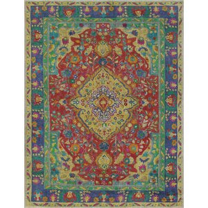 Carnell Vintage Distressed Overdyed Hand Knotted Wool Red Area Rug