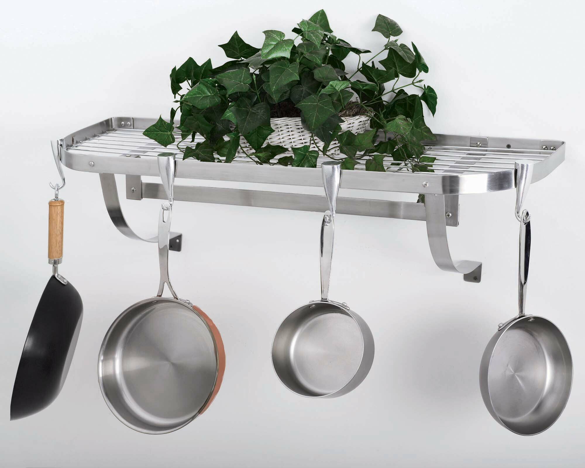 Concept Housewares Stainless Steel Wall Mounted Pot Rack Reviews Wayfair