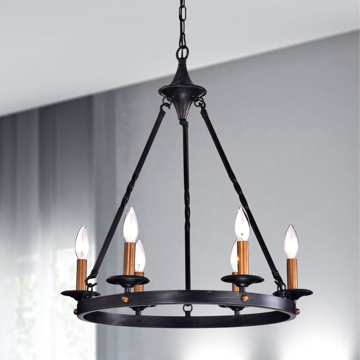 Millwood Pines Brian 6 Light Candle Style Wagon Wheel Chandelier Reviews Wayfair