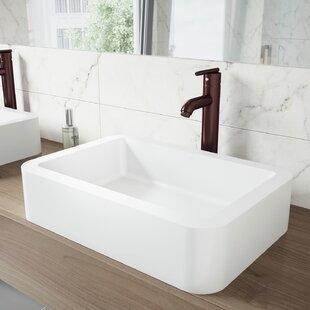 Reviews VIGO Matte Stone Rectangular Vessel Bathroom Sink with Faucet By VIGO