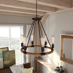 Inyo 6-Light Wagon Wheel Chandelier by Tr..
