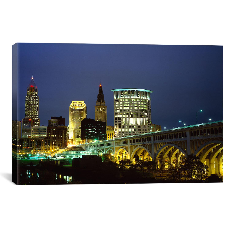 Ebern Designs Panoramic Bridge In A City Lit Up At Night Detroit Avenue Bridge Cleveland Ohio Photographic Print On Canvas Wayfair