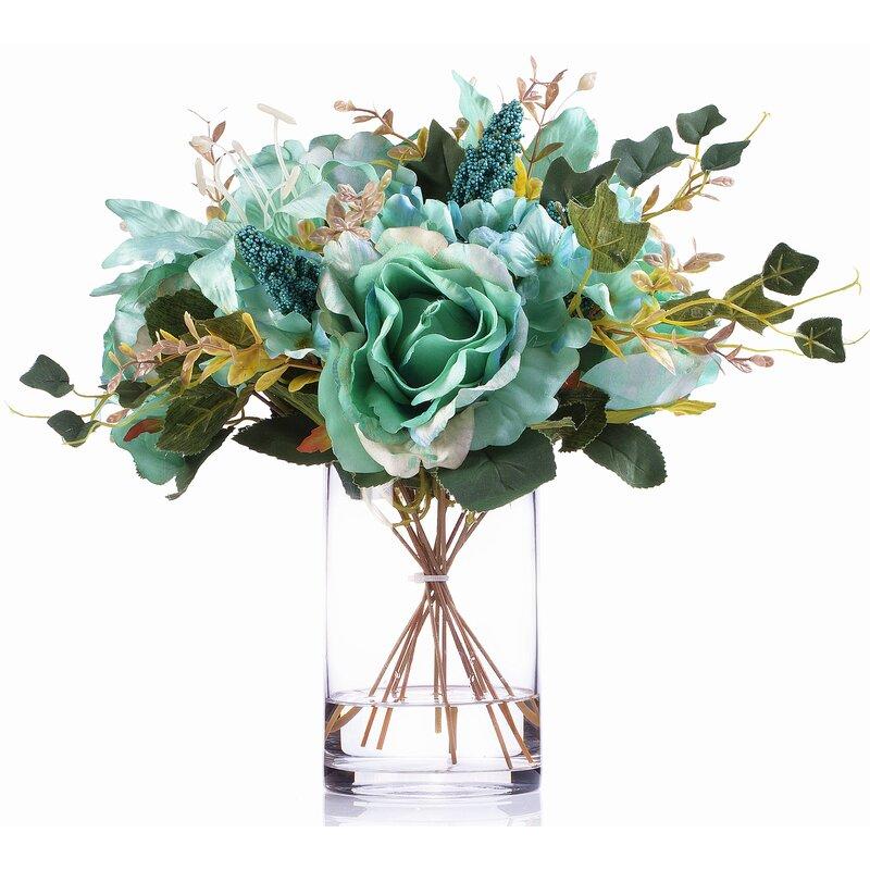 Charlton Home Mixed Silk Flower Arrangement In Vase Reviews Wayfair