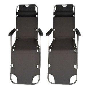 Freeport Park Strickland Reclining/Folding Zero Gravity Chair (Set of 2)