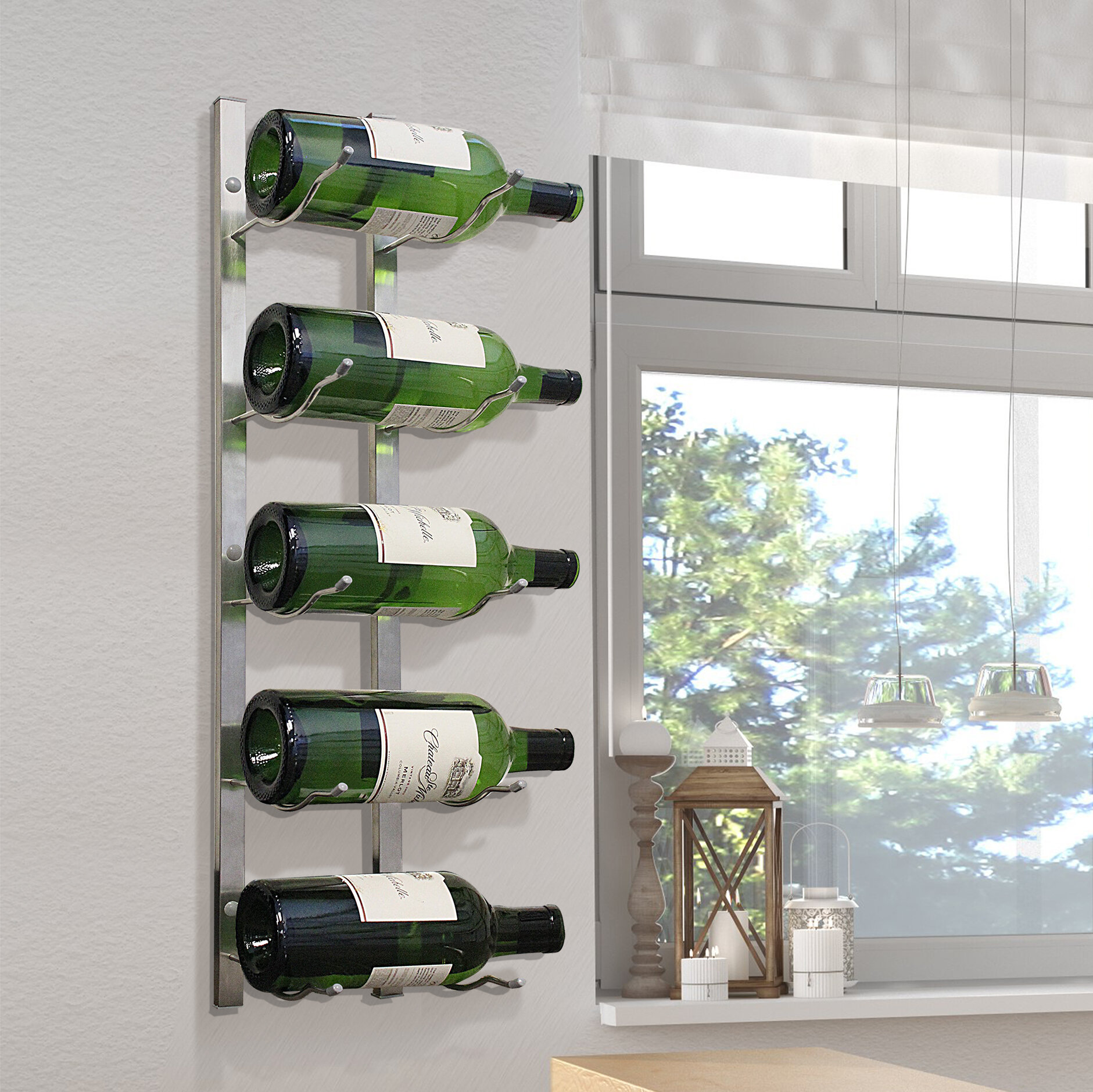Picture of: Epicureanist Magnum 5 Bottle Wall Mounted Wine Bottle Rack Reviews Wayfair