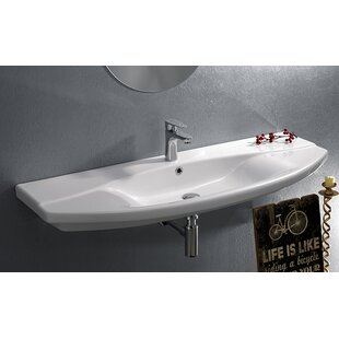 CeraStyle by Nameeks Focus Ceramic Rectangular Wall-Mount Bathroom Sink with Overflow
