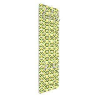 No.TA99 Retro Green Yellow Pattern Wall Mounted Coat Rack By Symple Stuff
