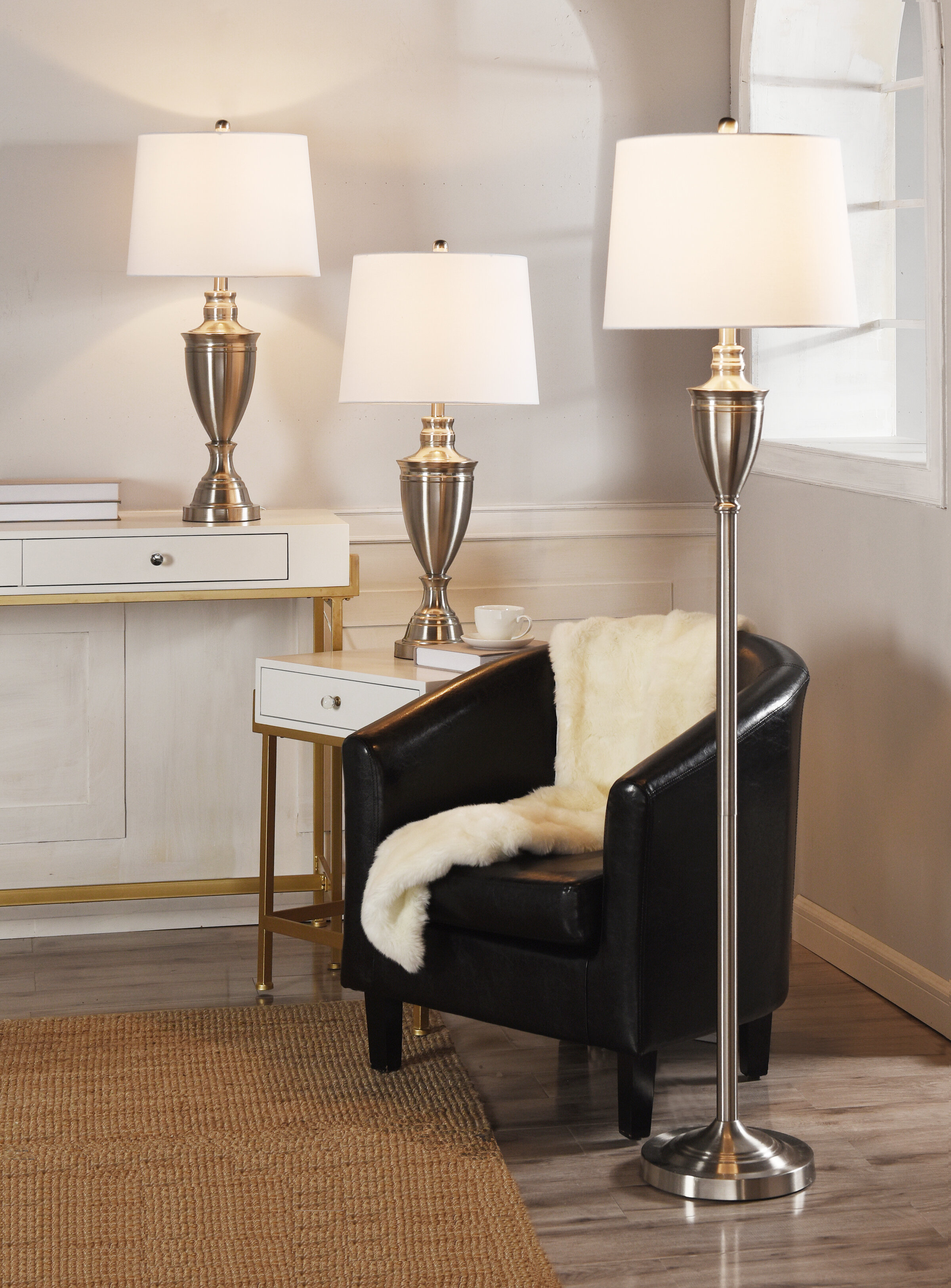 Alarcon 3 Piece Floor And Table Lamp
