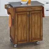 Savorey Kitchen Cart with Stainless Steel Top by August Grove®