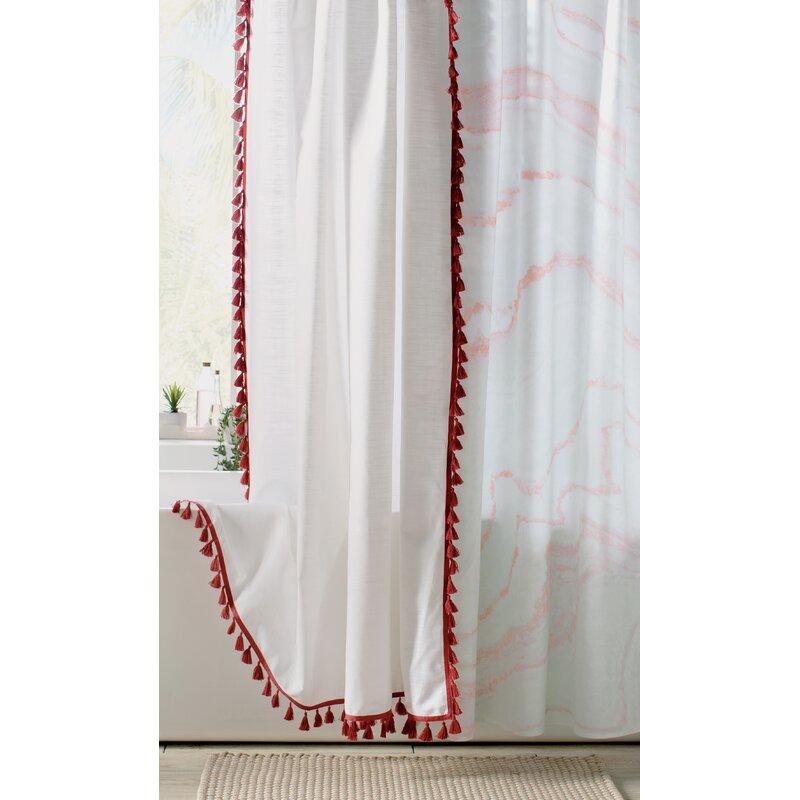 Angelia 100 Cotton Tassel Shower Curtain