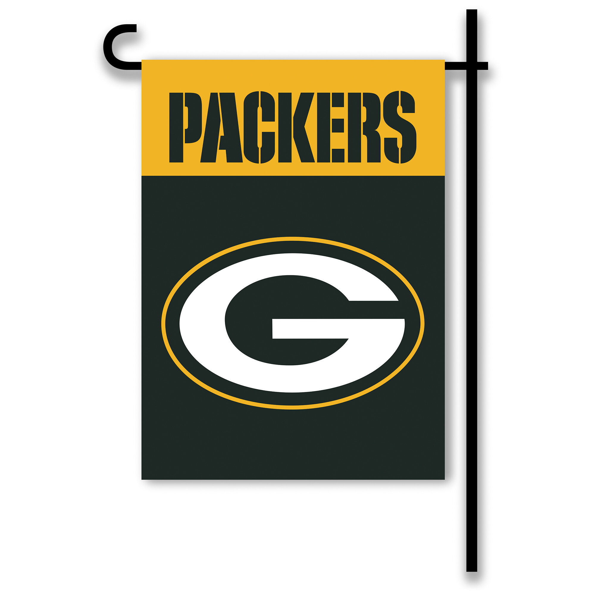 Helmet On Yellow Green Bay Packers Nfl Rico Industries Car Flag Including Pole Car Flags