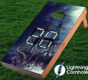 Lightning Cornhole Electronic Scoring Kraken and Pirate Ship Cornhole Board