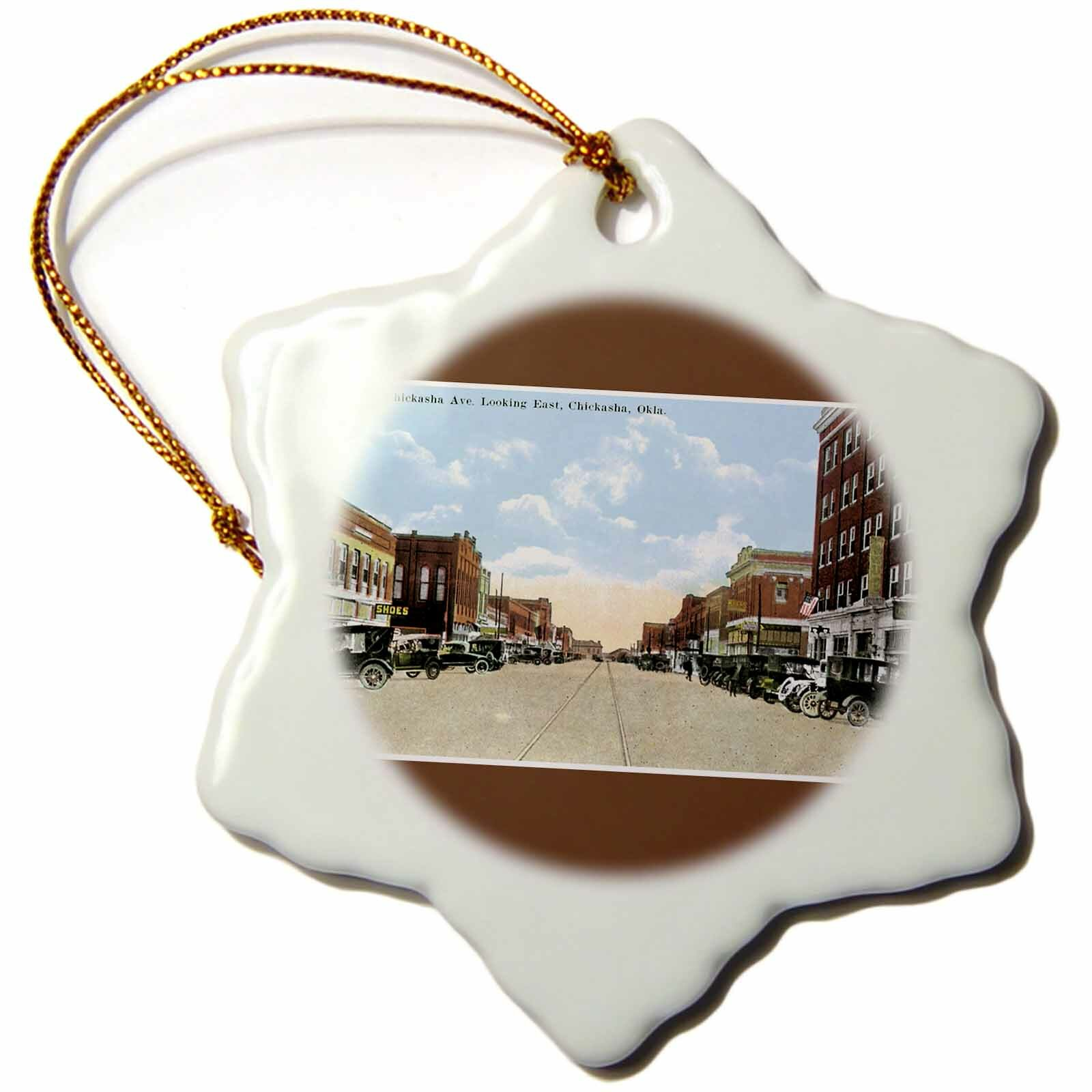 The Holiday Aisle Chickasha Oklahoma Street Lined With Antique Cars Snowflake Holiday Shaped Ornament Wayfair