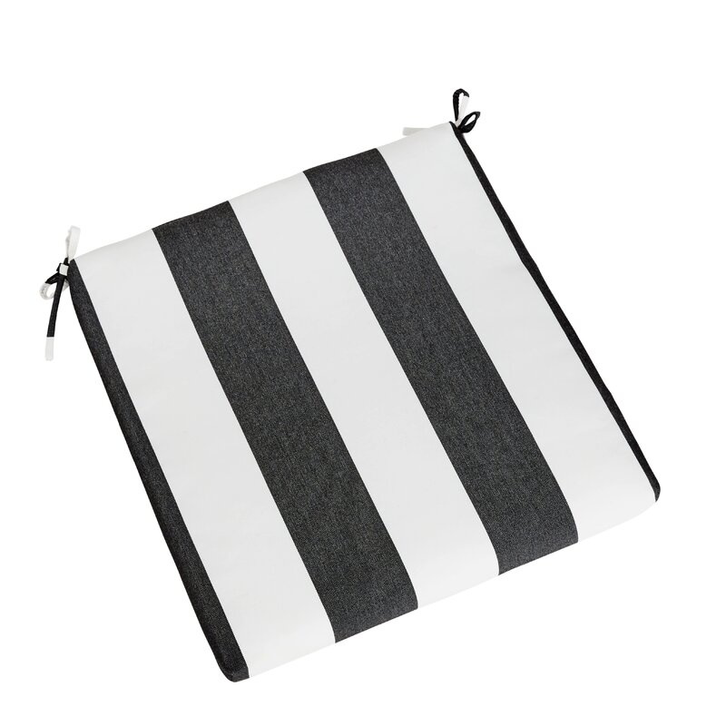 Cabana Classic Indoor/Outdoor Stripe Sunbrella Dining Chair Cushion With  Ties
