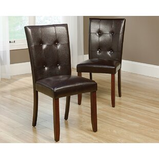 Tahmina Tufted Upholstered Parsons Chair in Select Cherry Set of 2