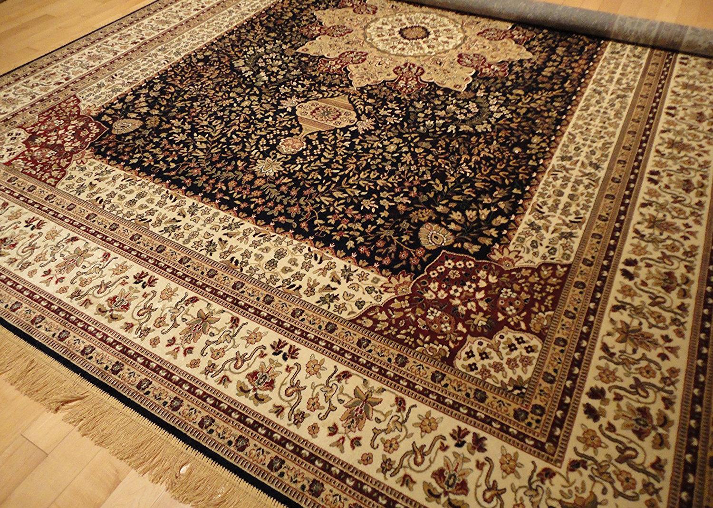 Astoria Grand Shanelle Living Room Hand Knotted Wool Navy Beige Rug Wayfair