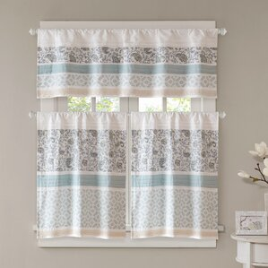 Chambery Printed And Pieced Rod Pocket Kitchen Curtains