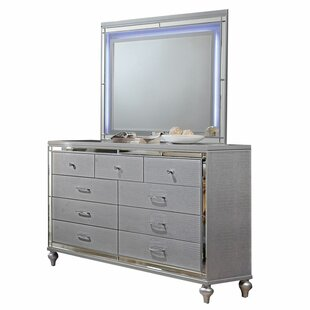 Valencia 9 Drawer Double Dresser with Mirror