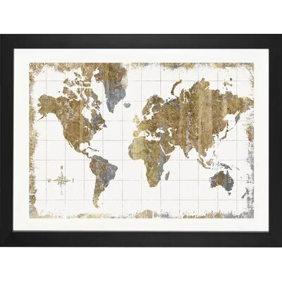 Williston Forge 'Gilded Map' Graphic Art Print Size: 24 H x 32 W x 1 D, Format: Black Frame