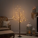 Electric Birch Wrapped LED 5.6' Brown Artificial Christmas Tree with 88 Clear Lights