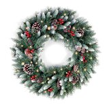 Frosted Berry Lighted PVC Wreath