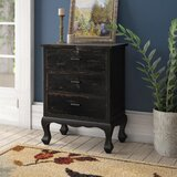 Sachiko 3 Drawer Aged Accent Chest by Charlton Home®