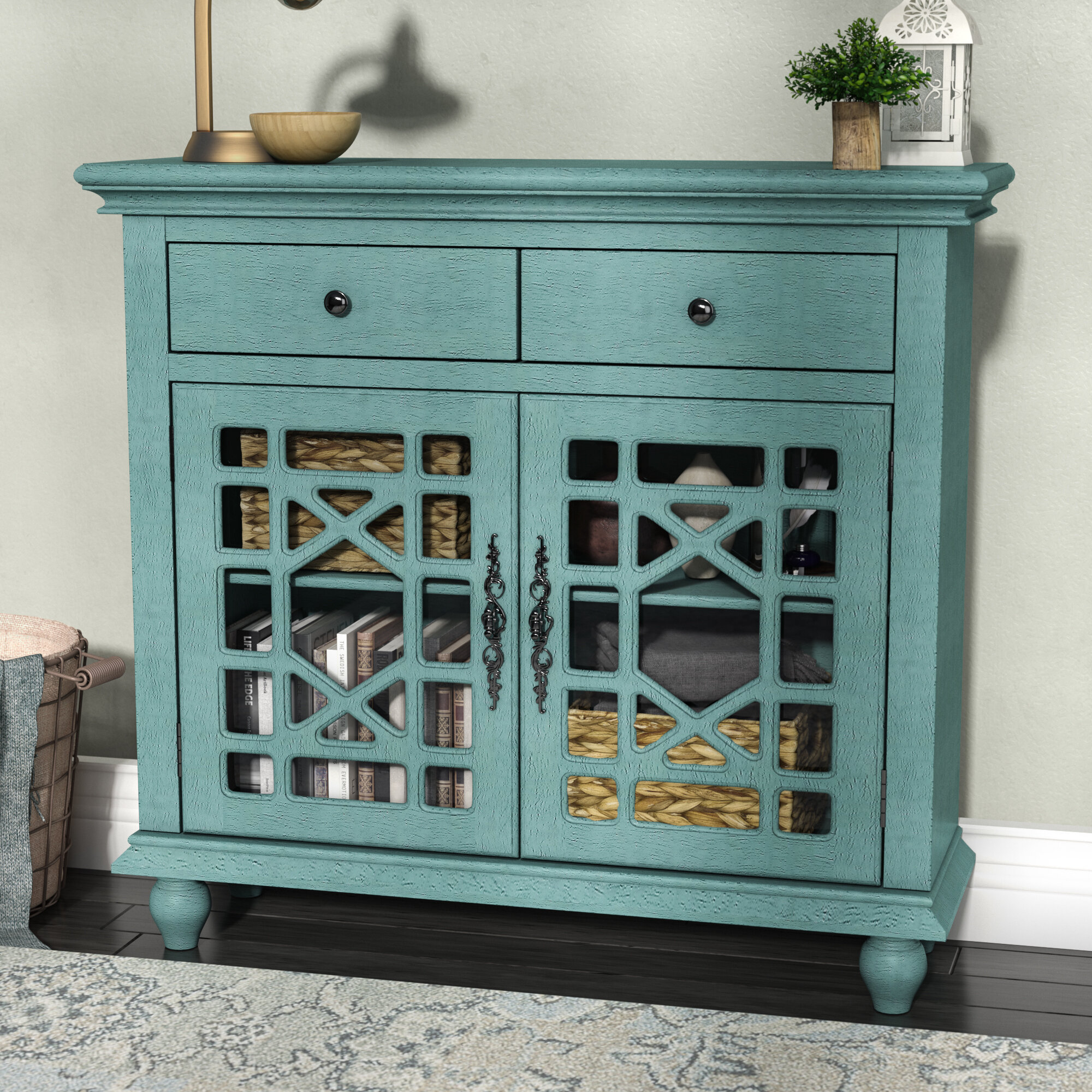 Lark Manor Mauldin 2 Drawer 2 Door Cabinet & Reviews | Wayfair