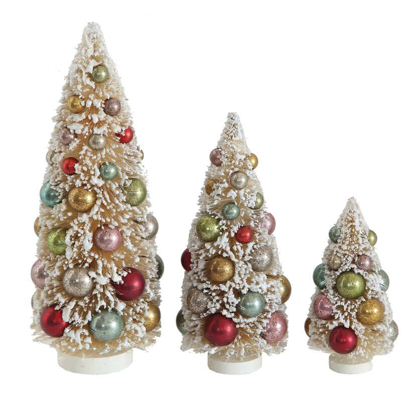 whimsy 3 piece bottle brush christmas tree set - Bottle Brush Christmas Tree