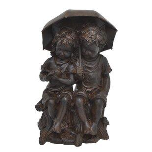 Three Hands Co. Boy and Girl Under Umbrella Statue