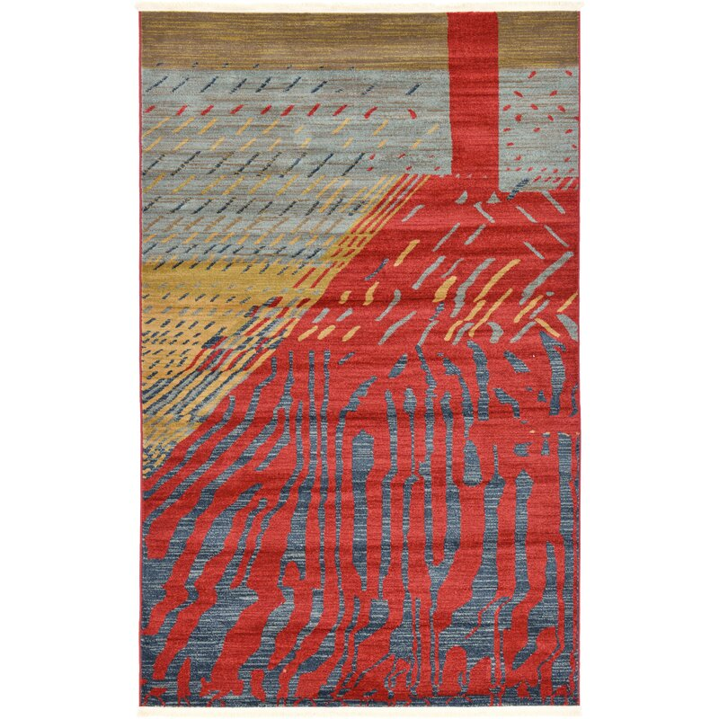 World Menagerie Foret Noire Red Area Rug
