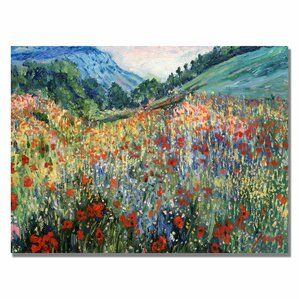 Field of Wild Flowers Painting Print on Wrapped Canvas