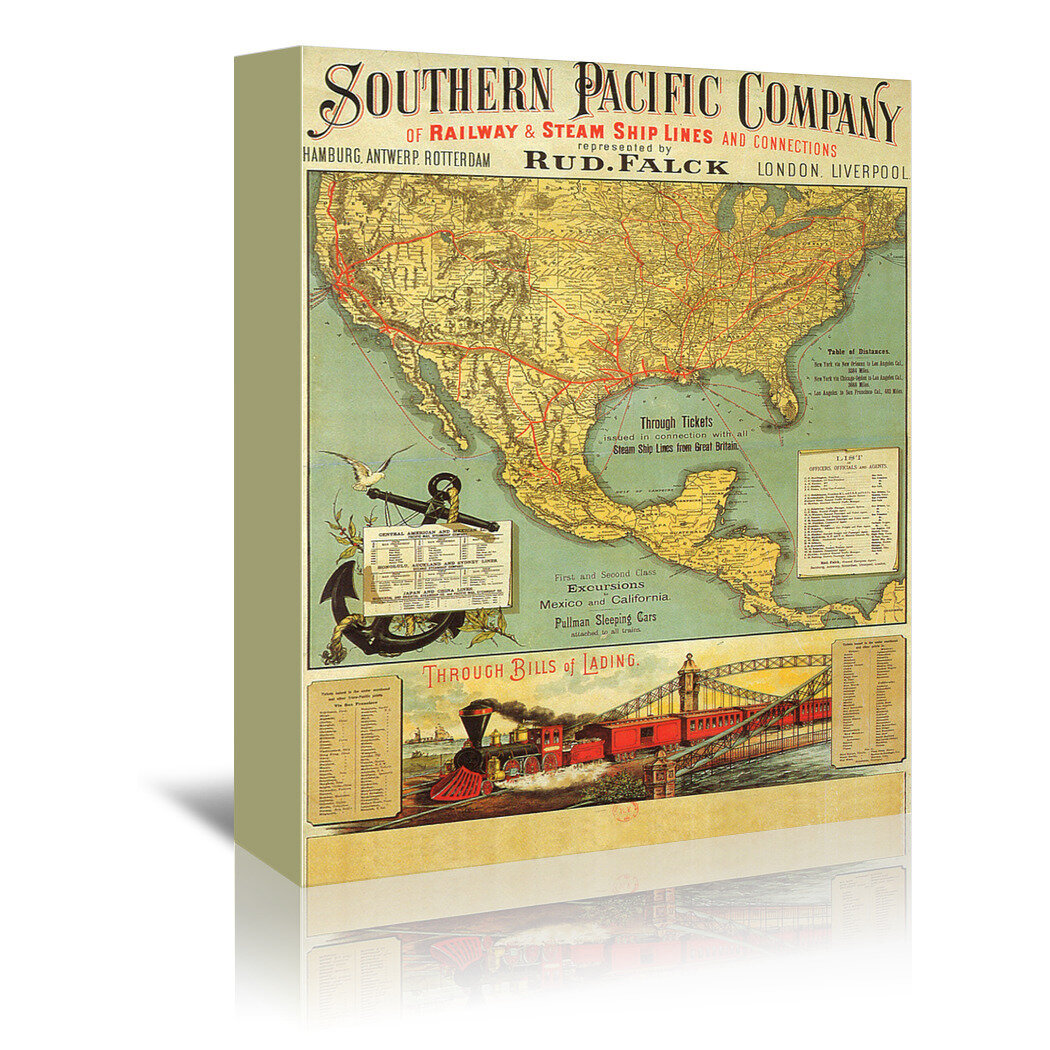 Breakwater Bay Southern Pacific Vintage Advertisement On Wrapped Canvas Wayfair