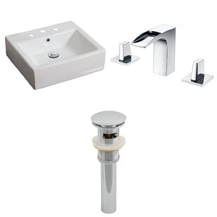 Deals Ceramic Rectangular Vessel Bathroom Sink with Faucet and Overflow By American Imaginations