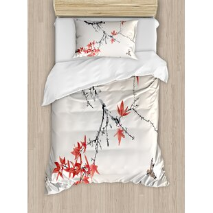 Japanese Cherry Blossom Sakura Tree Branches Romantic Spring Themed Watercolor Picture Duvet Cover Set