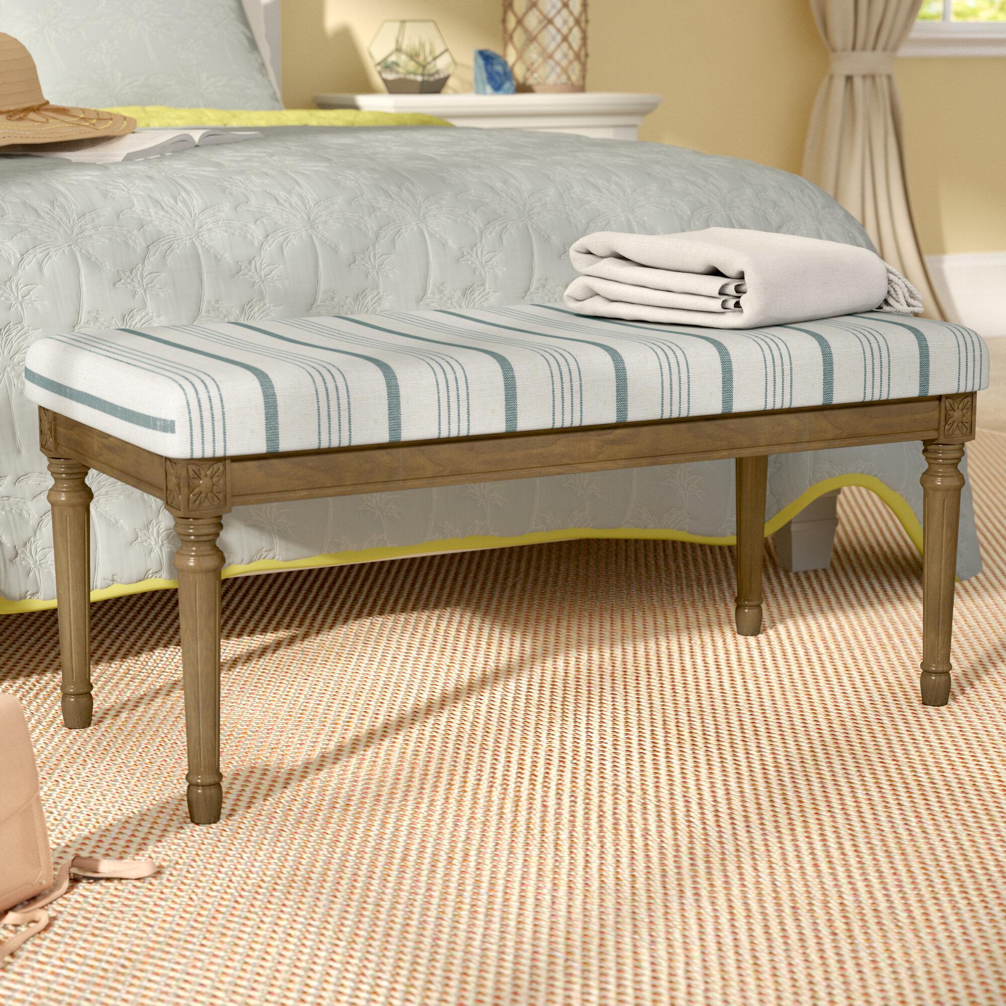 Beachcrest Home Lake Kathryn Stripe Decorative Upholstered Bench With Wood  Legs U0026 Reviews   Wayfair