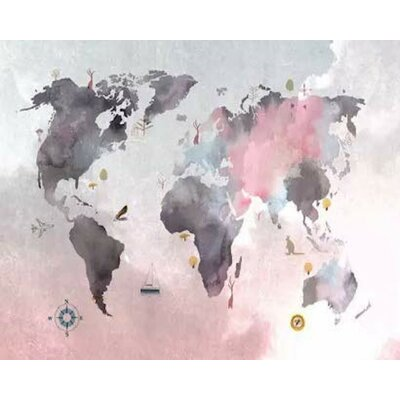 Isabelle & Max Pink Grey Scandinavian World Map Textile Wallpaper
