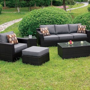 Brayden Studio Covington 5 Piece Wicker Sofa Seating Group with Cushions