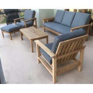 East Harptree 6 Piece Teak Sunbrella Sofa Set with Cushions