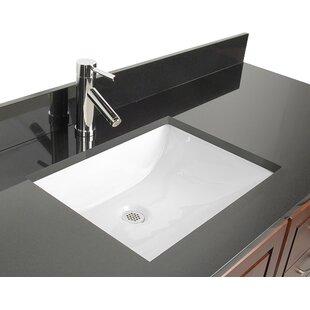 D'Vontz Ceramic Rectangular Undermount Bathroom Sink with Overflow