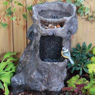 Awesome Solarbetriebener Brunnen Waterfall Tree Stump Mit Licht