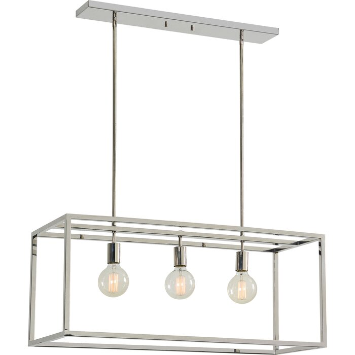 Giard Stainless Steel Ceiling Fixture 3 Light Kitchen Island Pendant