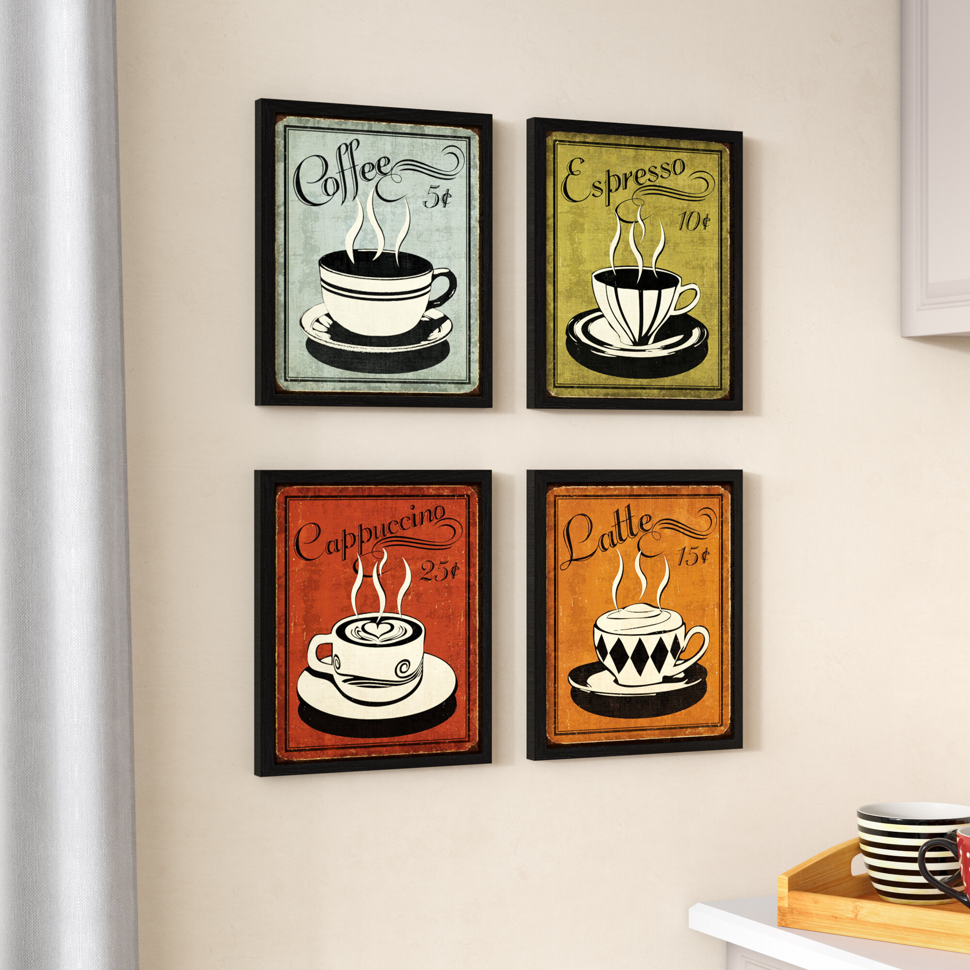 LATTE Large 29 Metal Wall Decor with Two Steaming Coffee Cups Framed Silhouette Wall Art Decor Interior Decoration