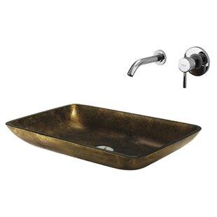 Online Reviews Copper Glass Circular Vessel Bathroom Sink with Faucet By VIGO