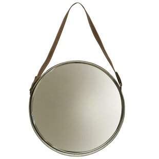 Fairburn Leather Belted Farmhouse Round Wall Accent Mirror