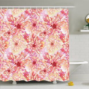 Bloom with Overlap Axis and Twist Bluntly Circle Pompons Shower Curtain Set