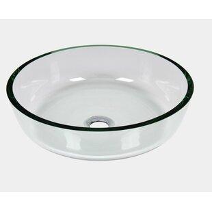 Jano Sanitary Tempered Glass Circular Vessel Bathroom Sink