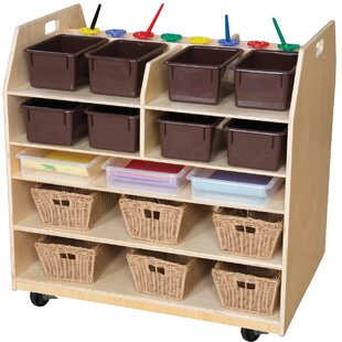 Compare prices Trolley Art Cart Double Sided 7 Compartment Cubby with Trays By Wood Designs