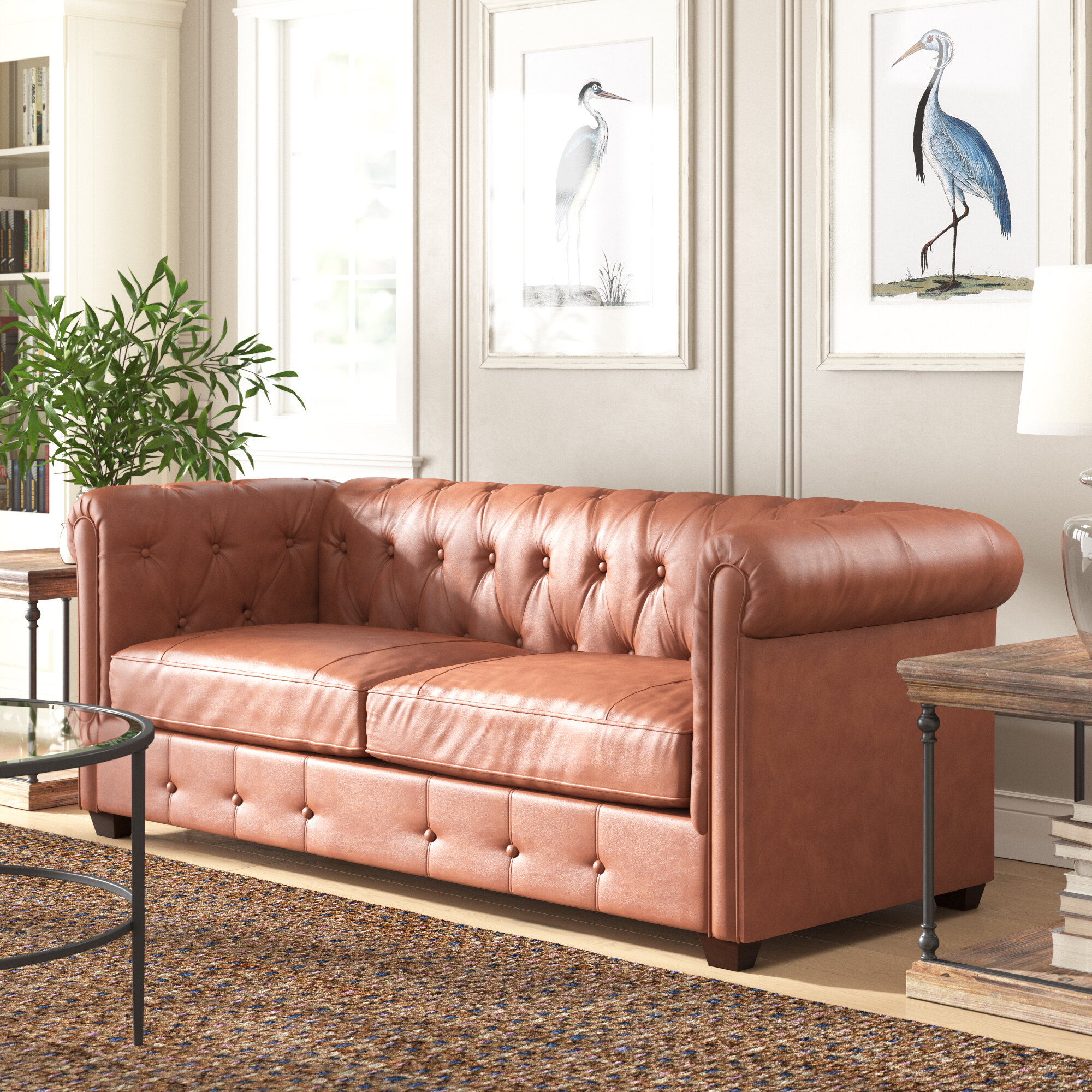 Hawthorn 88 Genuine Leather Chesterfield Rolled Arm Sofa Reviews Birch Lane