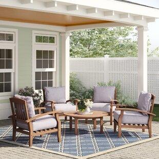 Summerton 5 Piece Teak Conversation Set with Cushion by Birch Lane? Heritage